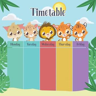 Calendário escolar com felinos fofos