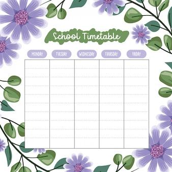 Calendário escolar com flores e folhas