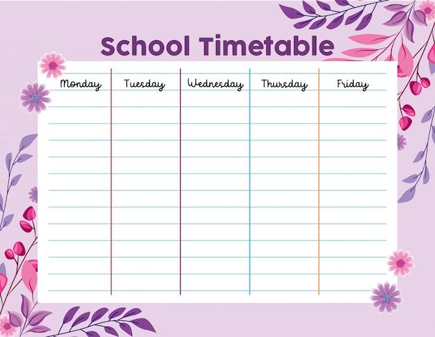 Calendário escolar com folhagem de folhas