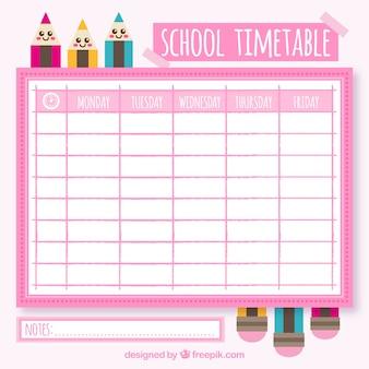 Calendário escolar com lápis em design plano