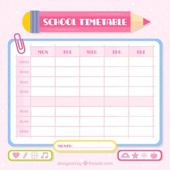 Calendário escolar com lápis rosa