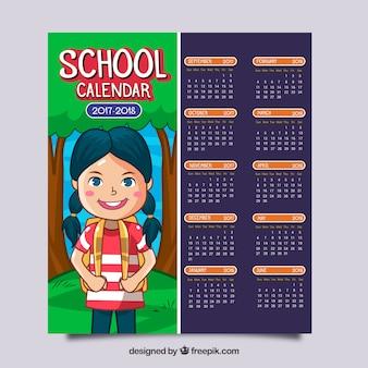 Calendário escolar com linda menina desenhada a mão
