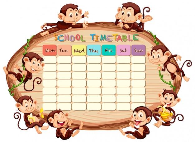 Calendário escolar com macacos