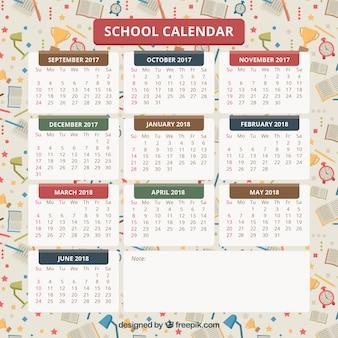 Calendário escolar com materiais em segundo plano