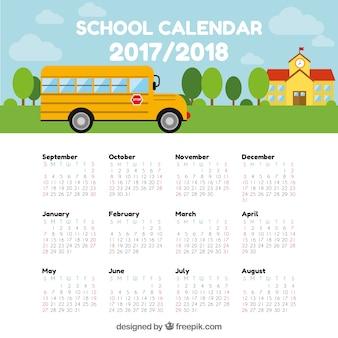 Calendário escolar com ônibus e construção