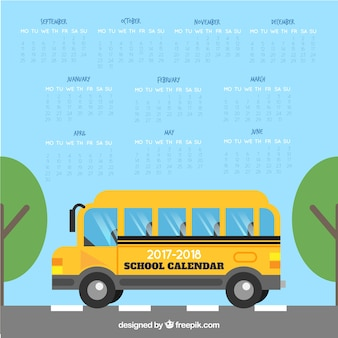 Calendário escolar com ônibus