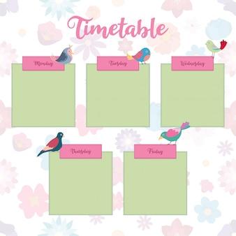 Calendário escolar com pássaros coloridos