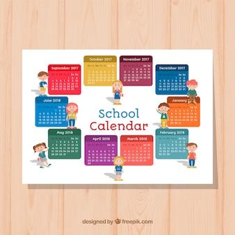 Calendário escolar com personagens divertidos