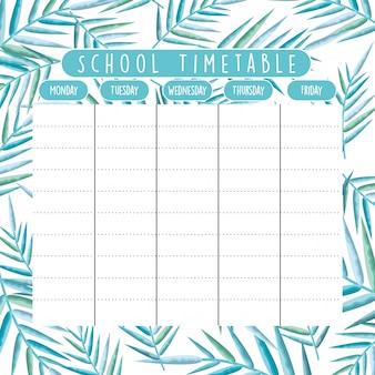 Calendário escolar com ramos de folhagem