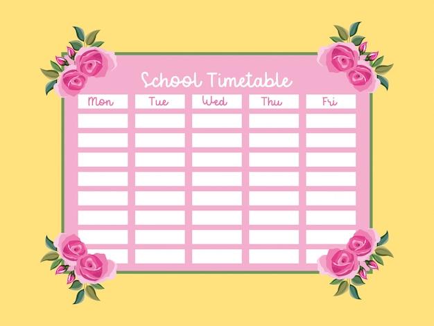 Calendário escolar com rosas cor de rosa