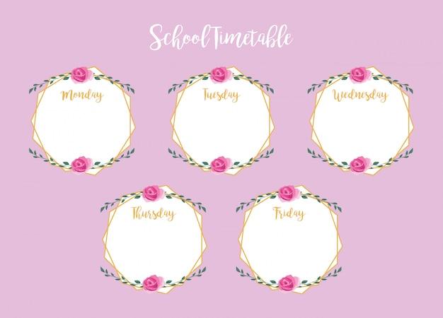 Calendário escolar com rosas e folhas