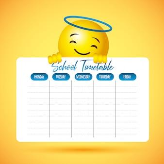 Calendário escolar com rosto de sorriso bonito emoji