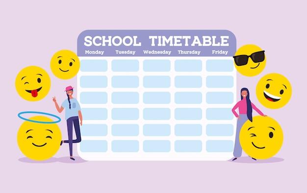 Calendário escolar com studendts e emojis