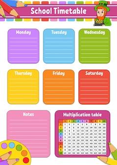 Calendário escolar com tabuada. para a educação das crianças.