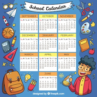 Calendário escolar de desenhos
