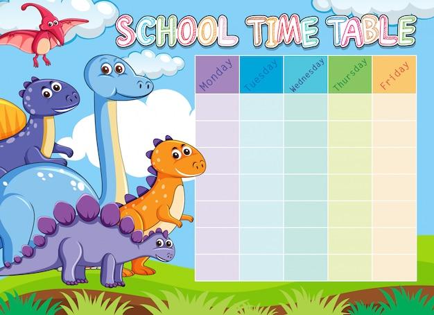 Calendário escolar de dinossauros com animais