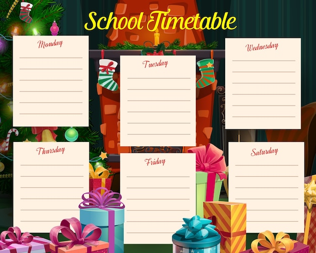 Calendário escolar de férias de natal com presentes e meia na lareira. programa de estudo, planejador de celebração modelo de programação semanal com árvore de natal decorada, desenho animado para presentes embrulhados