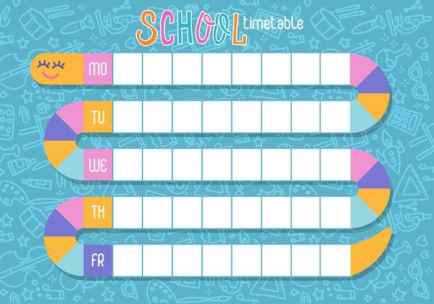 Calendário escolar de lições para estudantes com caminho de cobra. projeto das crianças, planeamento semanal da escola do molde.
