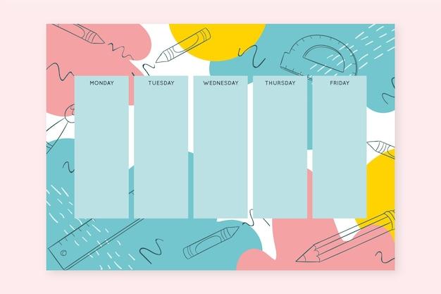Calendário escolar de mão desenhada de suprimentos