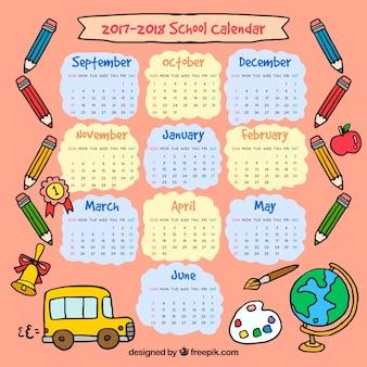 Calendário escolar desenhado a mão 2017-2018