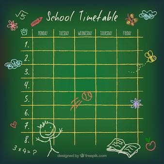 Calendário escolar doodle com desenhos