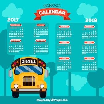 Calendário escolar e ônibus com design plano