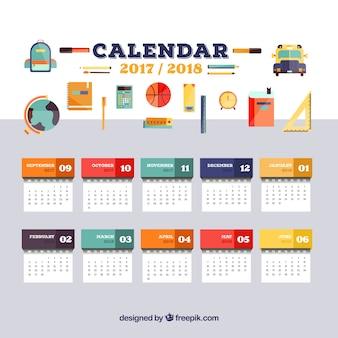 Calendário escolar e variedade de elementos escolares