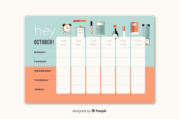 Calendário escolar em estilo plano