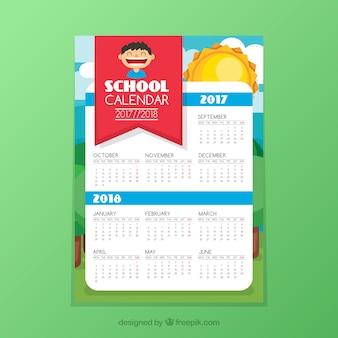 Calendário escolar em um fundo verde
