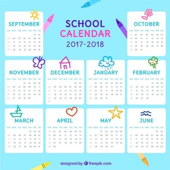 Calendário escolar moderno com estilo colorido
