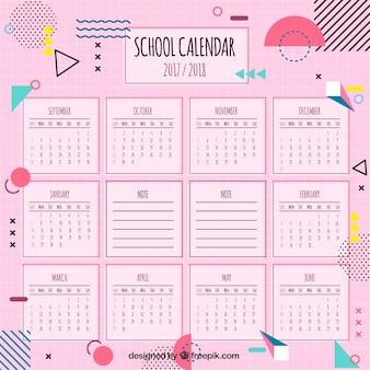 Calendário escolar moderno com formas geométricas