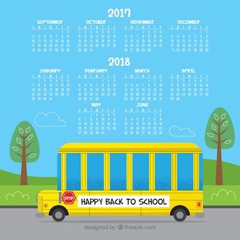 Calendário escolar moderno com ônibus escolar
