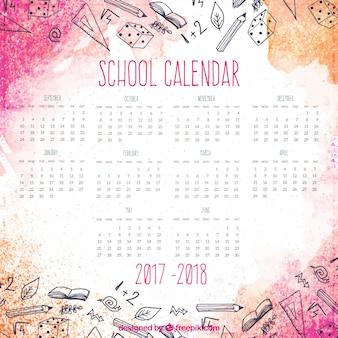 Calendário escolar moderno da aquarela
