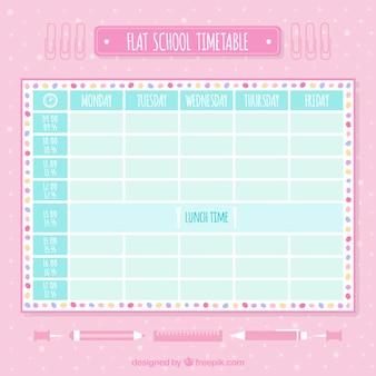 Calendário escolar plana em tons suaves