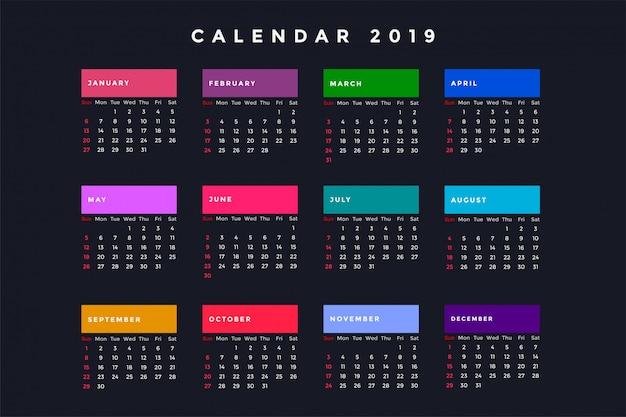Calendário escuro de ano novo para 2019