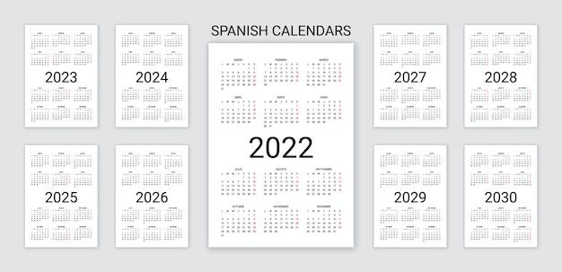 Calendário espanhol 2022, 2023, 2024, 2025, 2026, 2027, 2028, 2029, 2030 anos. modelo de bolso simples. ilustração vetorial.