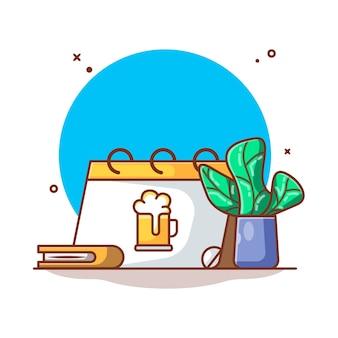 Calendário festival de outubro com ilustração de planta e livro