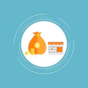 Calendário financeiro, planejamento comercial e financeiro, design de ilustração plana de gerenciamento de orçamento. desenhar