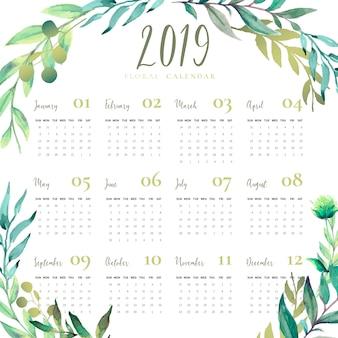 Calendário floral 2019 com folhas de aguarela