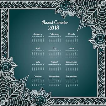 Calendário floral azul e branco mandala style 2018