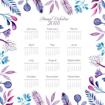 Calendário floral azul e rosa de aquarela 2018