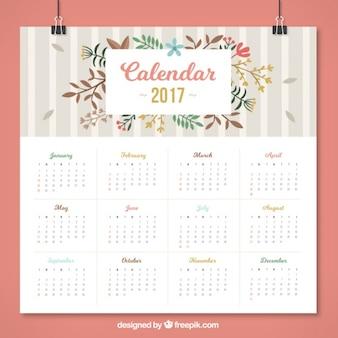 Calendário floral com listras cinza em design plano