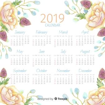 Calendário floral da aguarela 2019