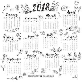 Calendário floral desenhado a dedo 2018