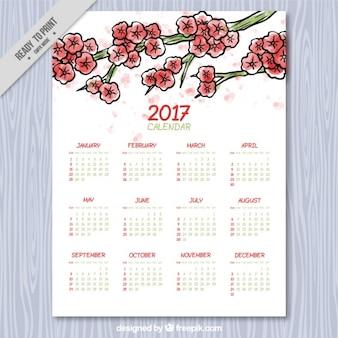 Calendário floral no estilo da aguarela
