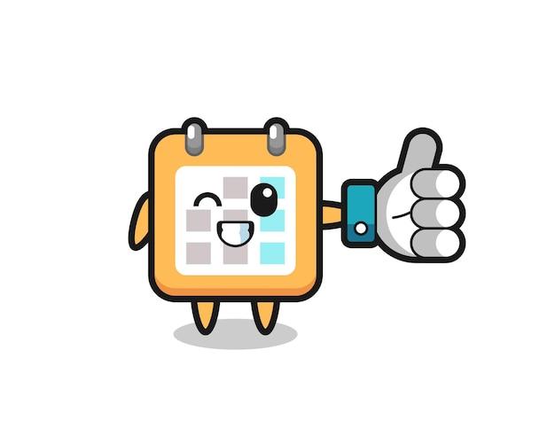 Calendário fofo com símbolo de polegar para cima de mídia social, design de estilo fofo para camiseta, adesivo, elemento de logotipo