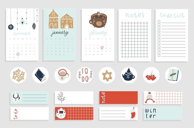Calendário fofo para o inverno, monthes, lista de tarefas, papel de nota de modelo e conjunto de adesivos