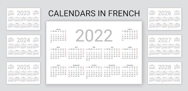 Calendário francês 2022, 2023, 2024, 2025, 2026, 2027, 2028 anos. a semana começa na segunda. organizador de mesa anual