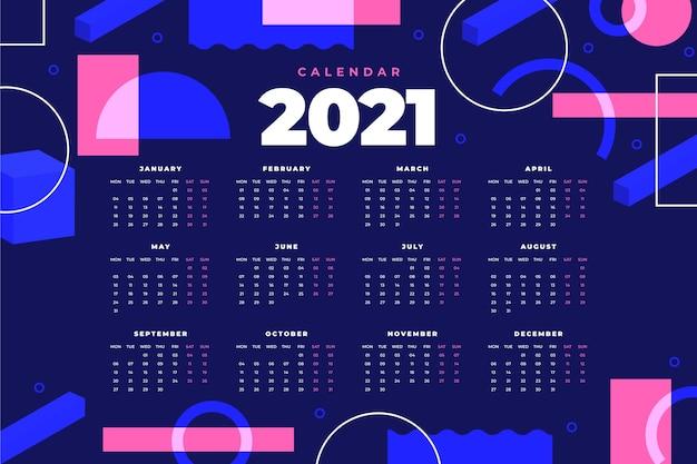 Calendário geométrico abstrato do ano novo de 2021