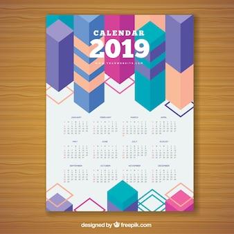 Calendário geométrico colorido para 2019